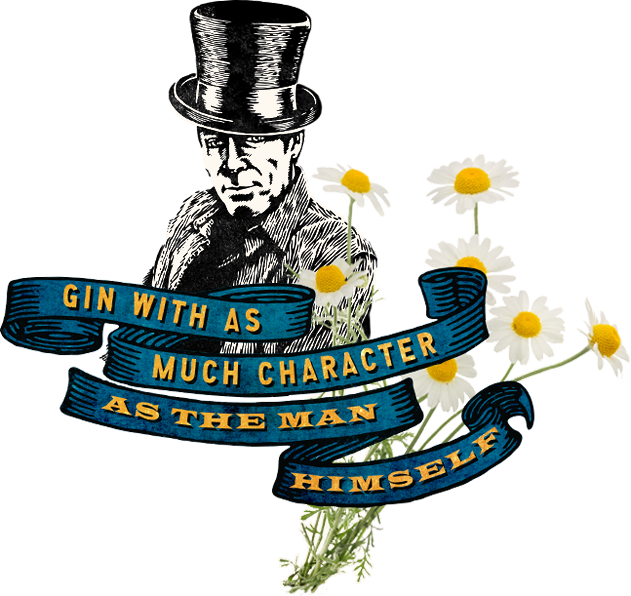 Blue ribbon banner and daisy flowers with the words, Gin with as much character as the man himself in gold lettering