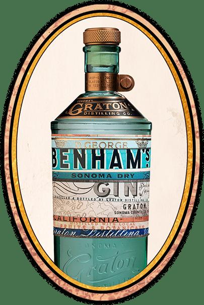 Bottle of Benham's Gin in an oval frame